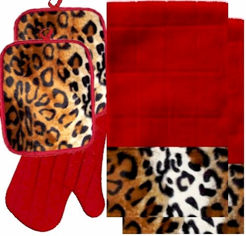 Medium image of anythinganimals com animals bordering africa animal print kitchen linen set red leopard  35