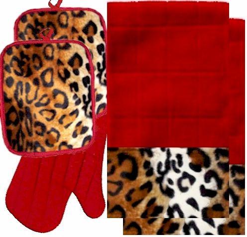 Anythinganimals Animals Bordering Africa Animal Print Kitchen Linen Set Red Leopard 35