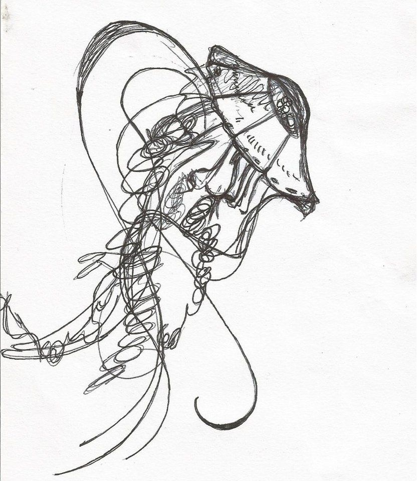 It's just a graphic of Invaluable Jellyfish Ink Drawing