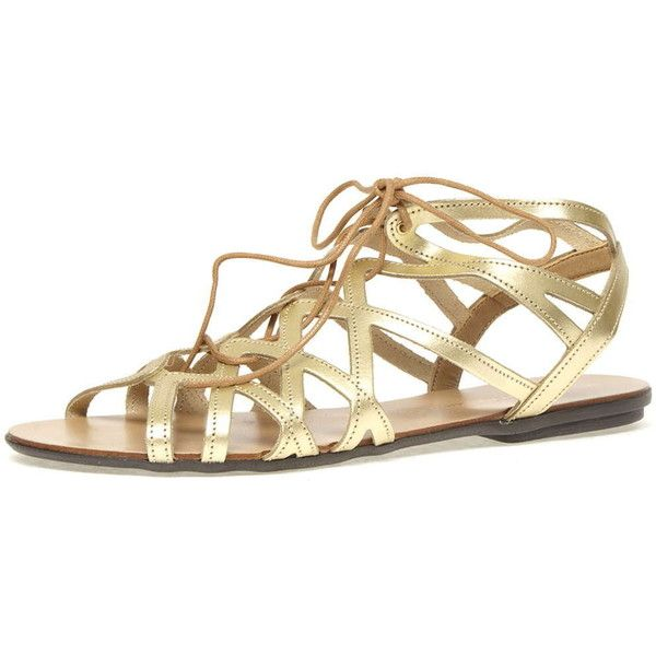 100c1f7aebff Dorothy Perkins Gold leather gladiator sandals (102.705 COP) ❤ liked on  Polyvore featuring shoes