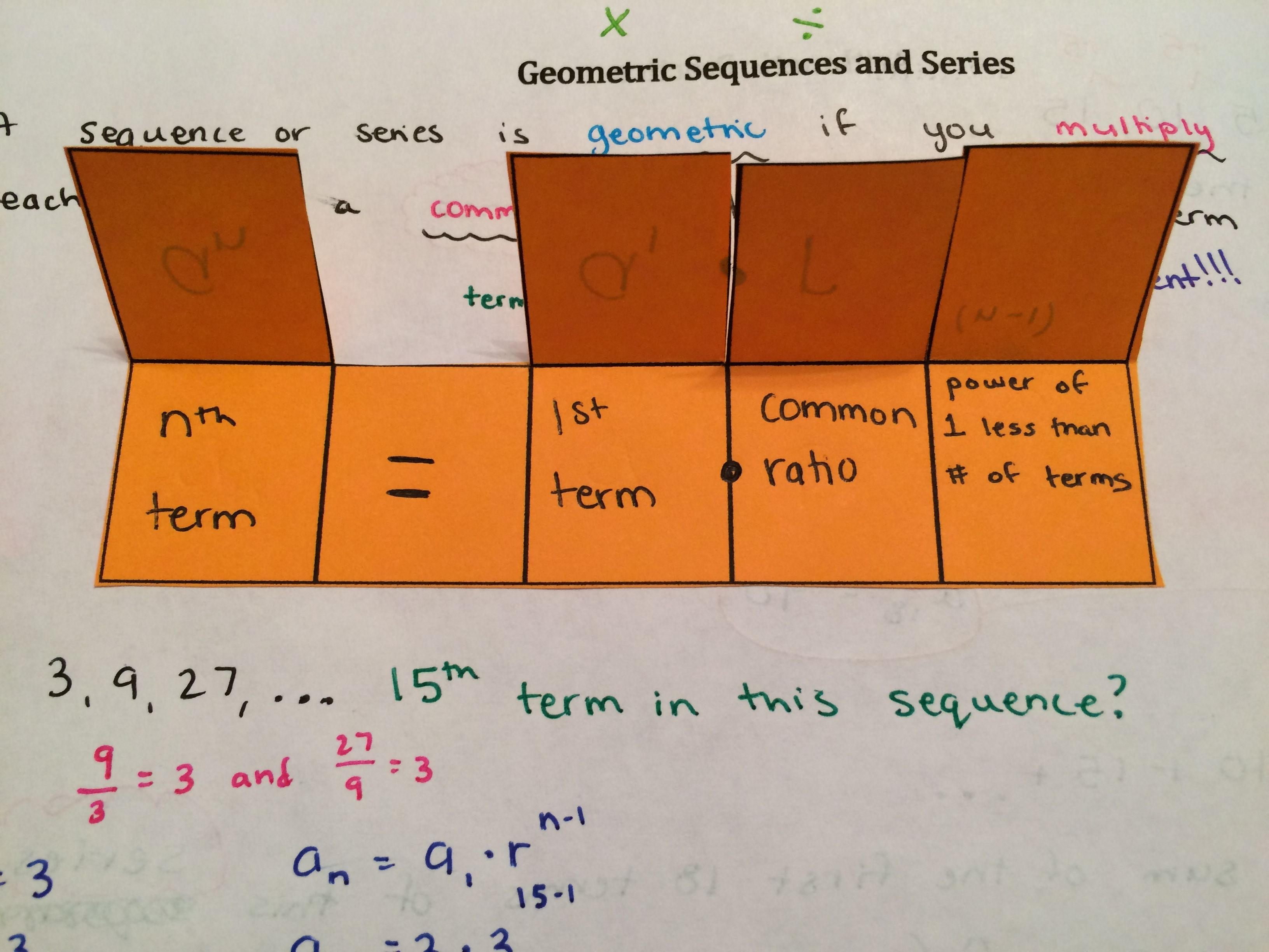 Sequences And Series Unit Interactive Notebook Pages