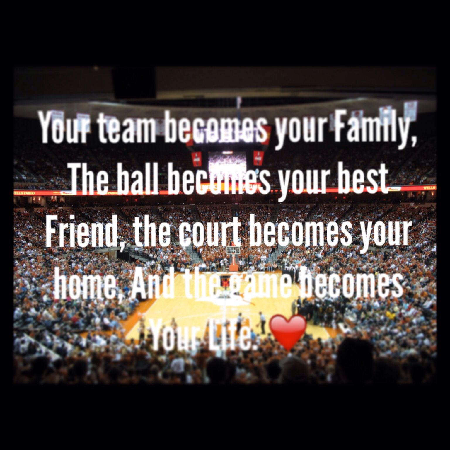 Your team is your family, the ball is your best friend , the court