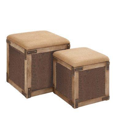 Look what I found on #zulily! Linen Seat Wooden Stool Set by Uma Enterprises, $170 !!   #zulilyfinds