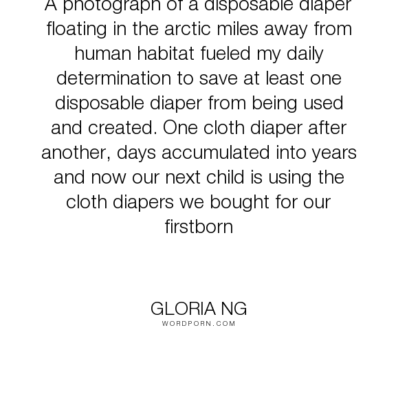 """Gloria Ng - """"A photograph of a disposable diaper floating in the arctic miles away from human..."""". communication, mother, motherhood, environment, child, protection, conservation, environmentalism, stewardship, baby, environmental, newborn, sustainability, laundry, sustainable, infant, elimination, recycle, reduction, carbon-emissions, cloth, diaper, diapering, environmentalist, postpartum, reuse"""