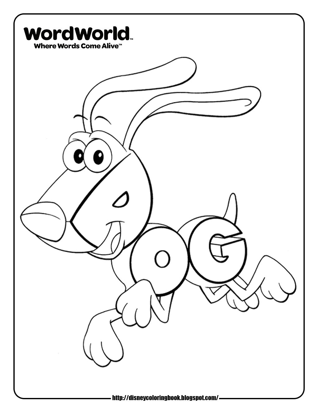 Coloring worksheets phonics - Word World Dog Coloring Pages I Know A Three Year Old Who Will Love This