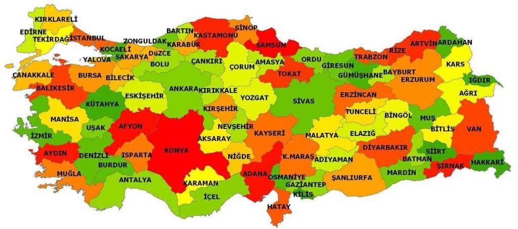 Turkiye Siyasi Haritasi Cografya Bilim Harita Turkiye Cografya