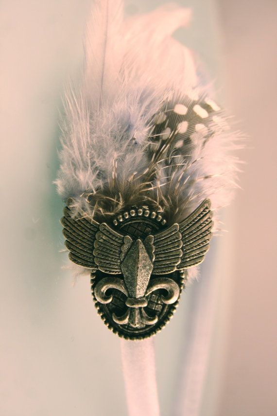 Silver Gray Metallic Steampunk Feather by CollageArtcessories, $18.00