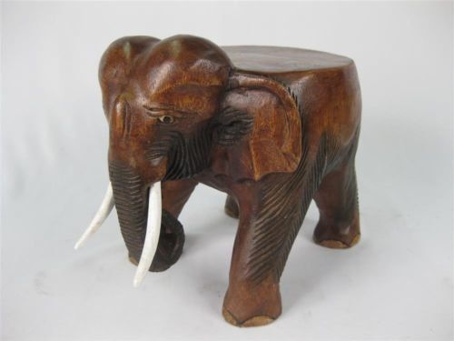 Elephant table wooden stool plant pot stand hand