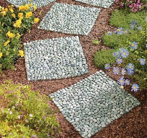 Set Of 3 Square Garden Pathway Stepping Real Stone Mats New | EBay