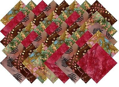 BLEND OF MULTI COLOR VARIETY BATIKS 5 INCH QUILTING FABRIC SQUARES #10