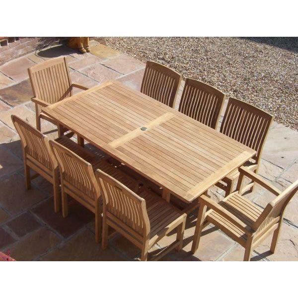 8 Seater Rectangular Teak Set Garden Patio Table Chairs Armchairs Solid Wood Big