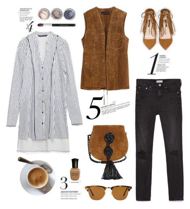 """""""Stripe Shirts"""" by junglover ❤ liked on Polyvore featuring Zara, Yves Saint Laurent, Ray-Ban, Deborah Lippmann and Bare Escentuals"""