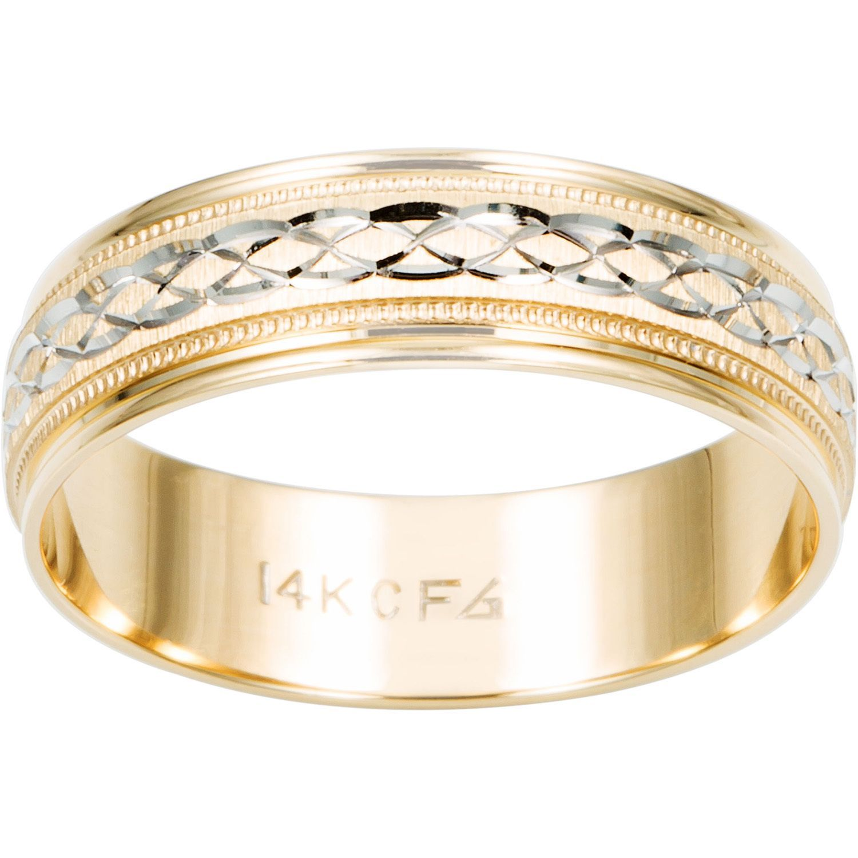 Cambridge 14k Two tone Gold Men s Engraved Wedding Band Size 8