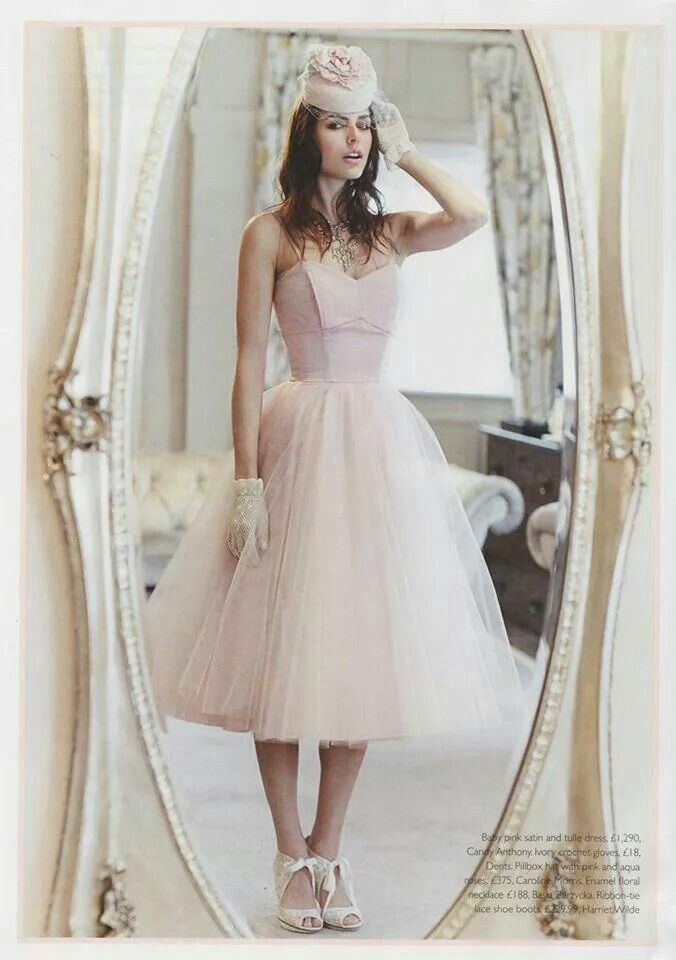 Candy Anthony 50s style blush wedding dress with Harriet Wilde ...