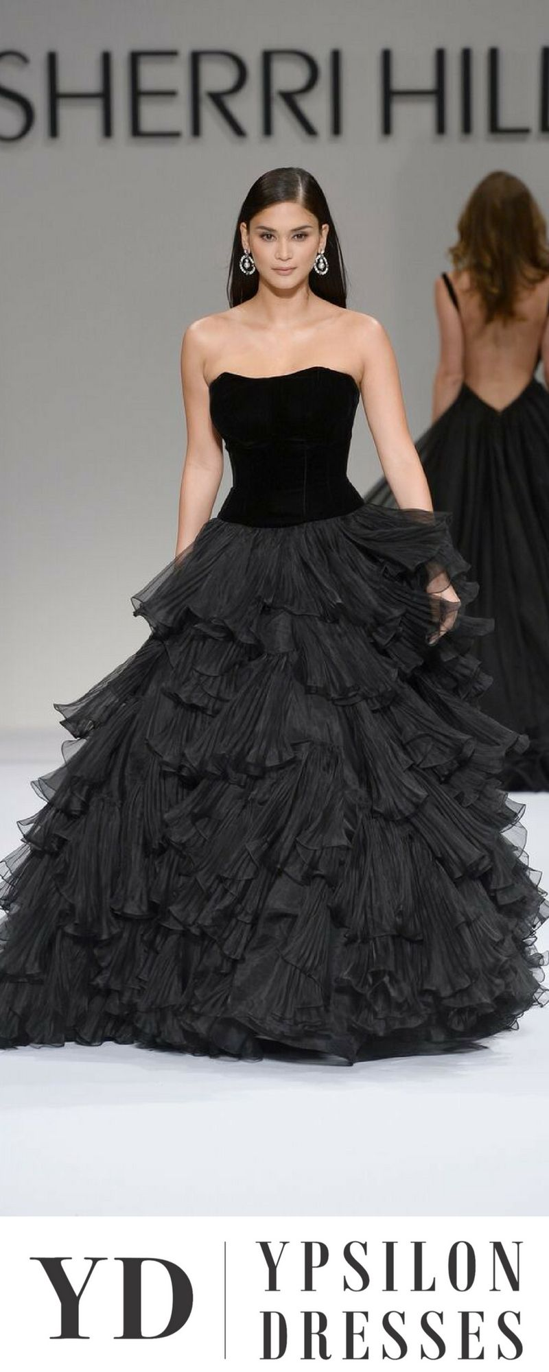 bfc7c8ab321 Sherri Hill Black Velvet Ballgown Ruffle Skirt Strapless Ypsilon Dresses  SLC Utah Store Prom Pageant Evening wear High School Dance Dresses  Homecoming ...