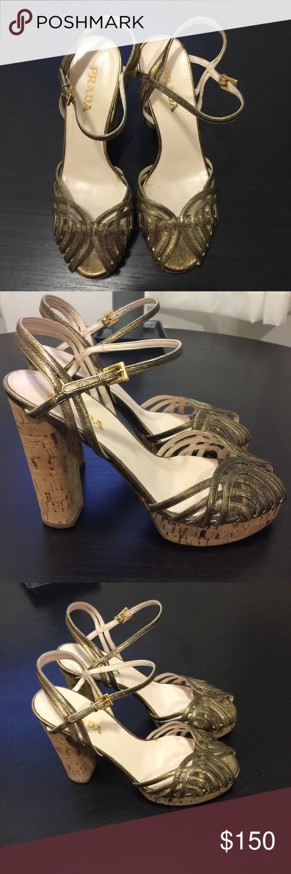 Prada Gold Cork Platforms 37 1/2 Prada Gold Cork Platforms 37.5. I'm an 8 and can wear these fine. Very comfortable considering height. Worn very seldom. Great condition. Purchased at Neiman Marcus for $795. Prada Shoes Platforms