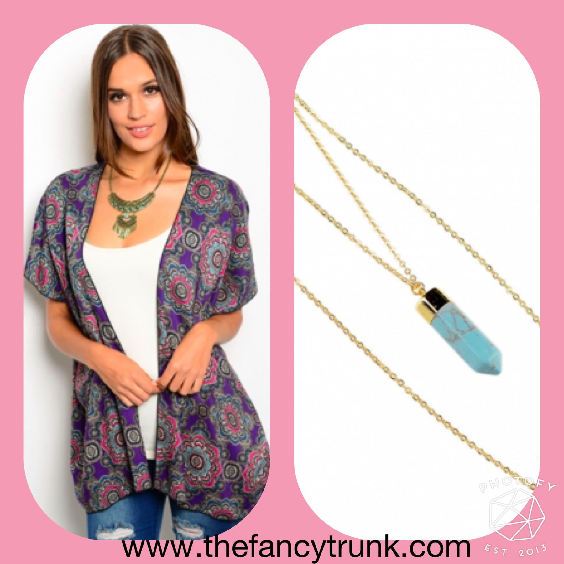 Our dazed kimono with our turquoise stone necklace! #style #musthave #newarrivals #womensfashion