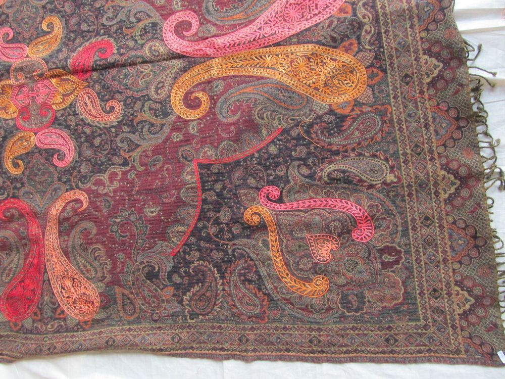 BOILED WOOL SHAWL PAISLEY HAND EMBROIDERY DESIGN JAMAWAR CASHMERE THROW BED 3995
