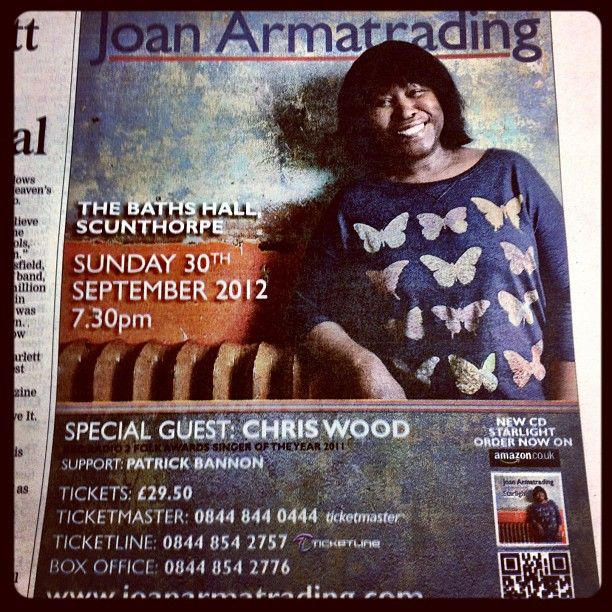 Joan Armatrading advert in this weeks #scunthorpe Telegraph.""