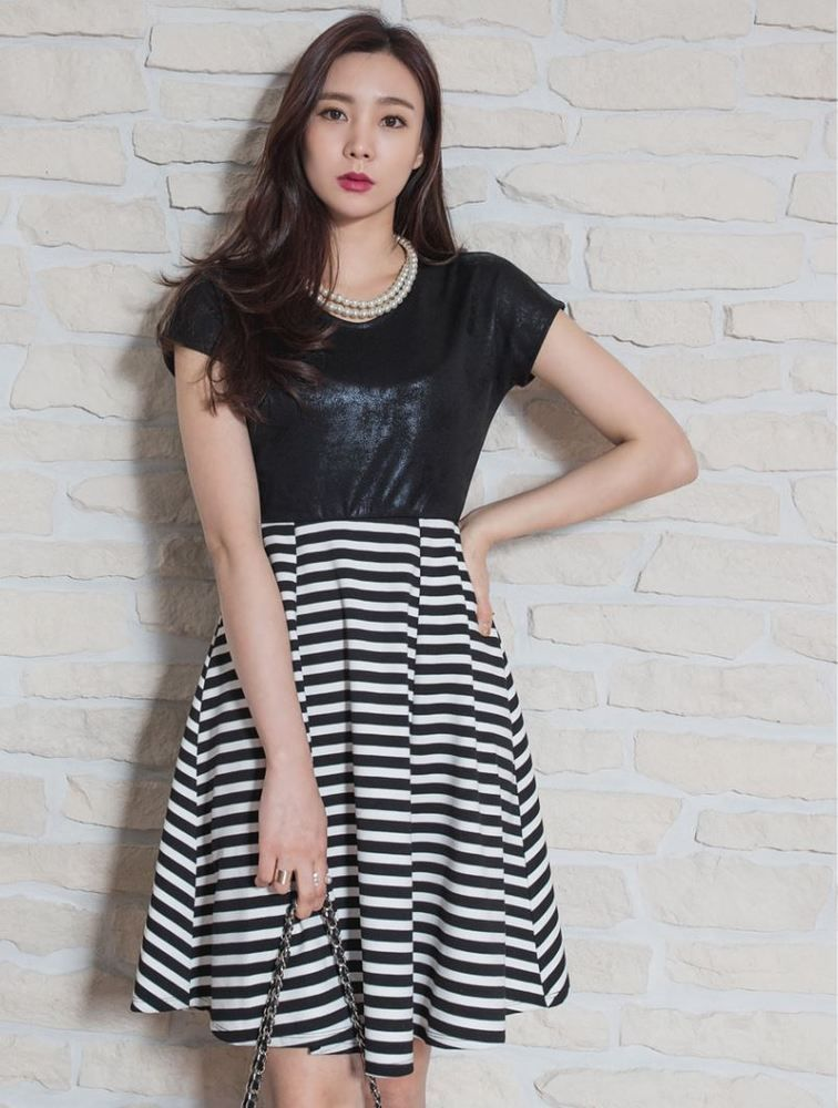 b4973db6aa21 Stylish Short Sleeve Korean style A-line Casual Women Summer dress ...