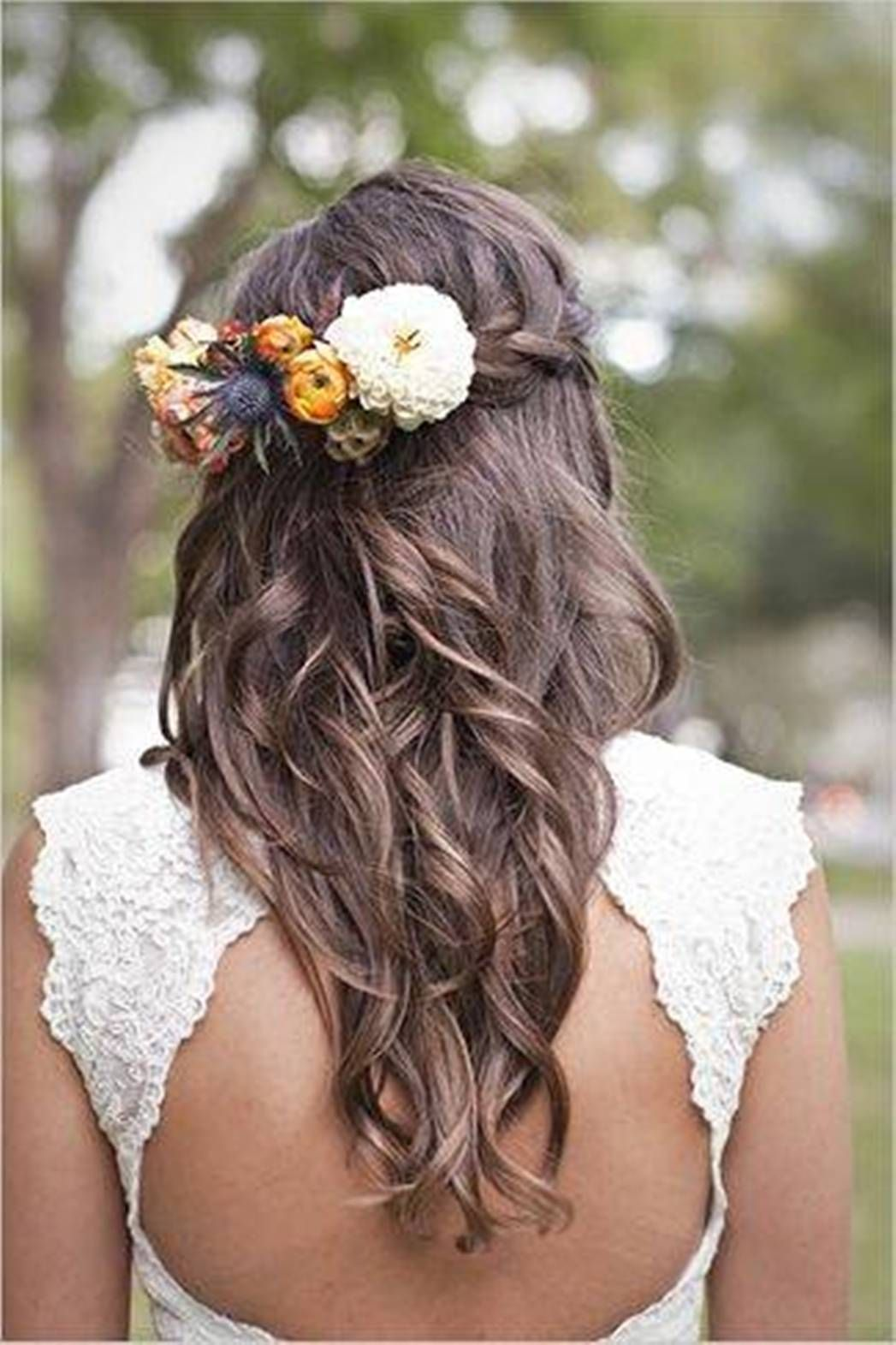 wedding hairstyles for long hair with flowers braid - only