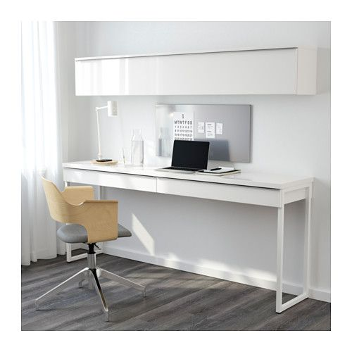 Best burs desk combination high gloss white 180x40 cm for Bureau en pin ikea