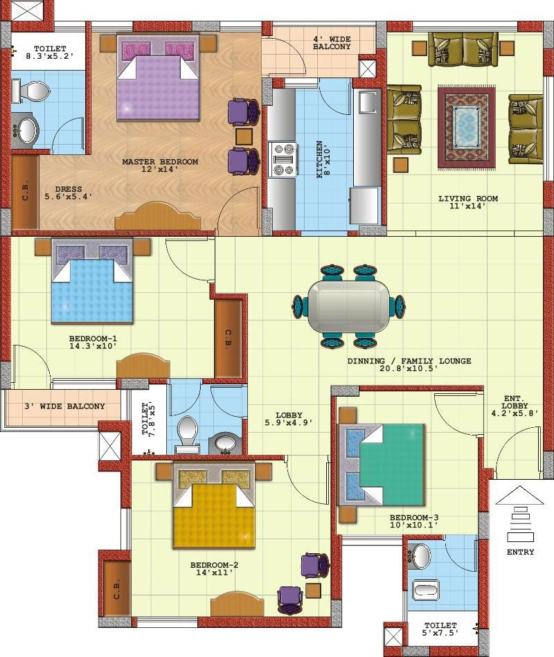 4 Bedroom Apartment Floor Plans Google Ideas