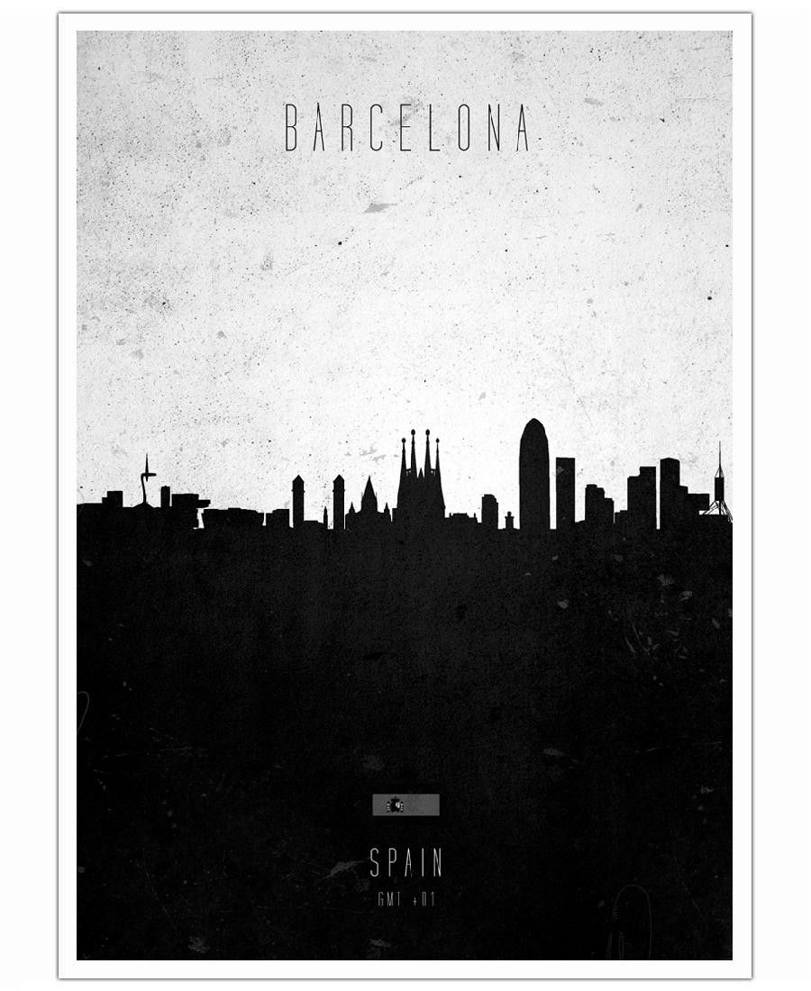Barcelona Contemporary Cityscape as Art Print by Calm The Ham