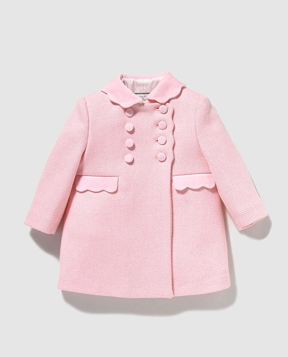 e0a4cb9ef Abrigo de bebé niña Dulces de paño en rosa