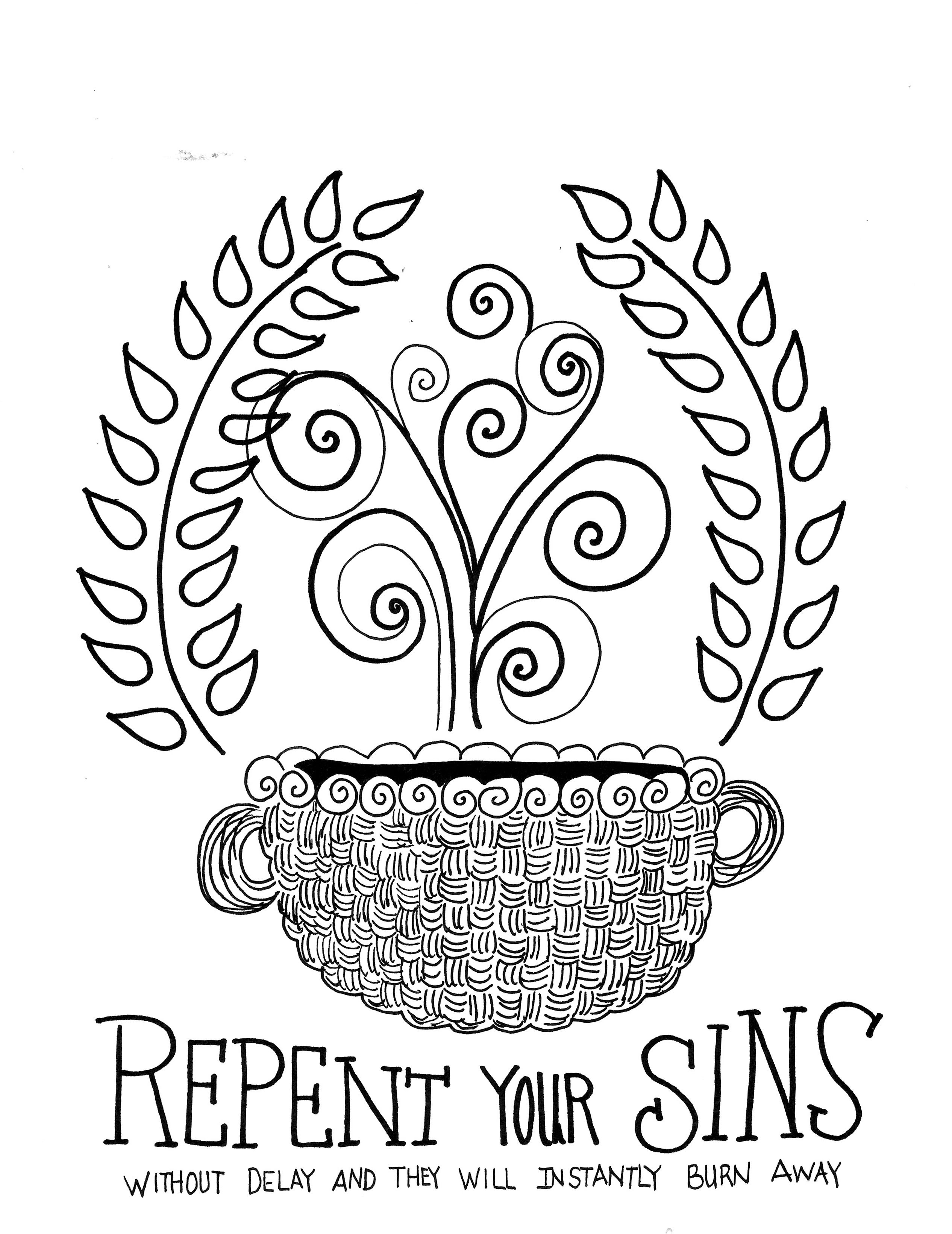 Repentance Is First Ee Scripture Coloring Pages Printable 8x10 Zenspirations Color And