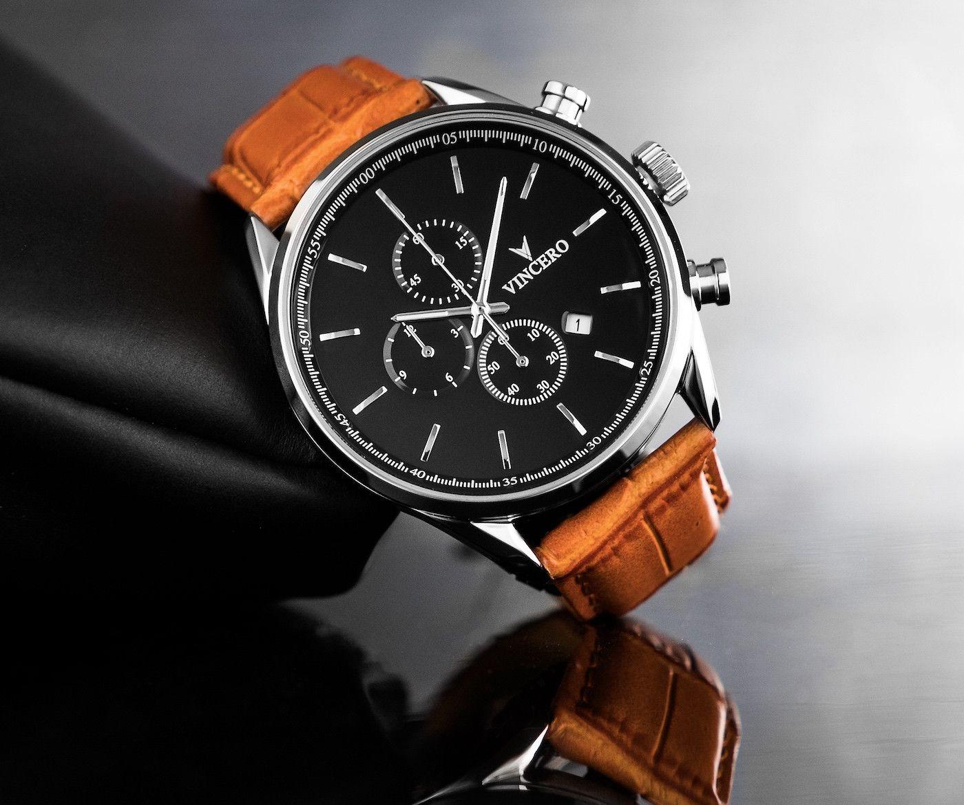 3816eea36e4 Men s Chronograph - Black   Tan Watch – Vincero Collective