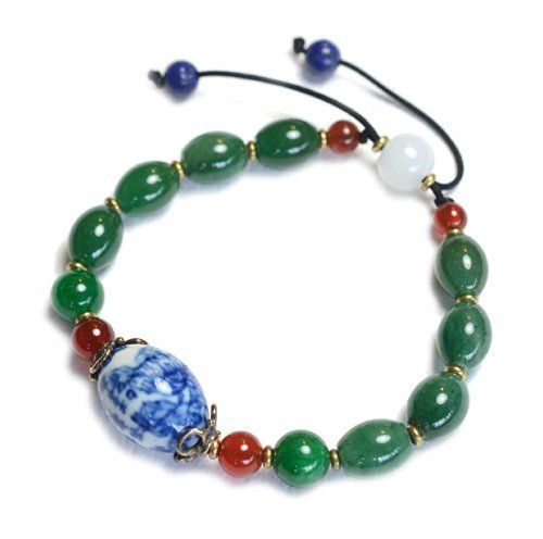 Feng Shui Argent amour avec le poème, madame élégante porcelaine vert jade bracelet