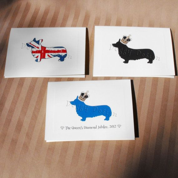 3 Pack Greeting Cards for Diamond Jubilee Featuring Corgi Dog by doggydesign, $8.50  Royal Crown and Union Jack Designs
