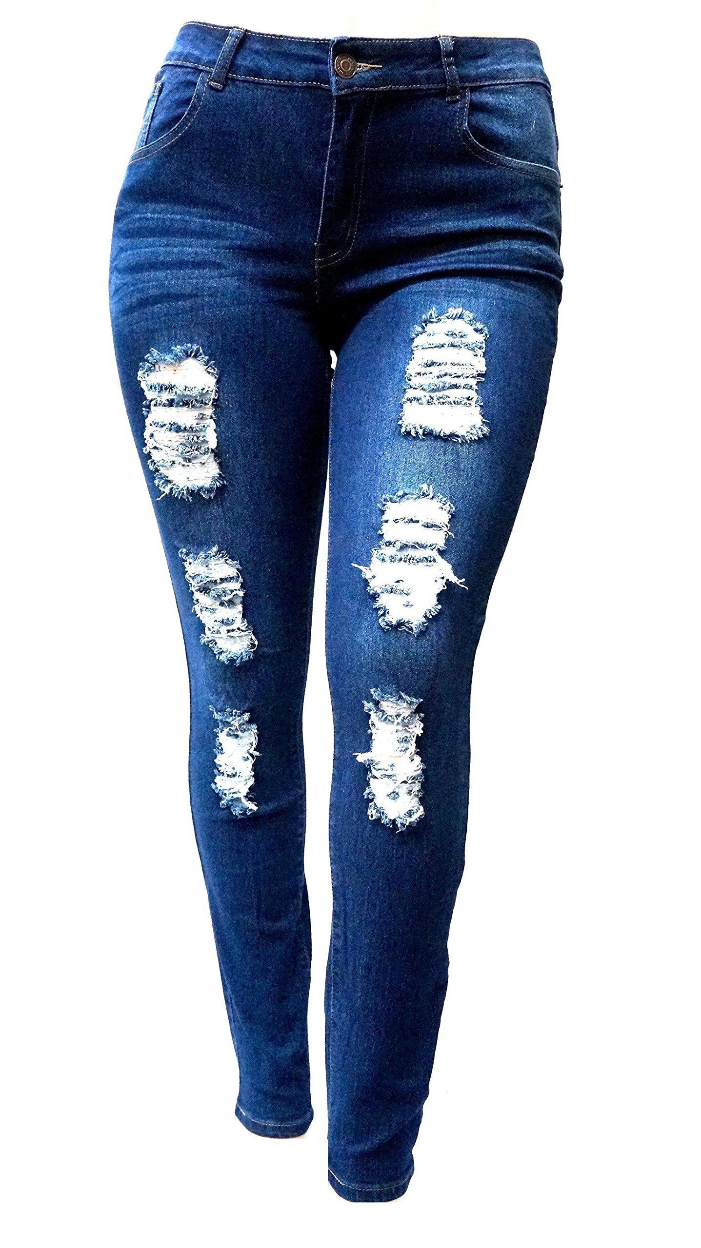 SL 1826 WOMENS PLUS SIZE Stretch Distressed Ripped BLUE SKINNY DENIM JEANS  PANTS (18) b5b06afc1