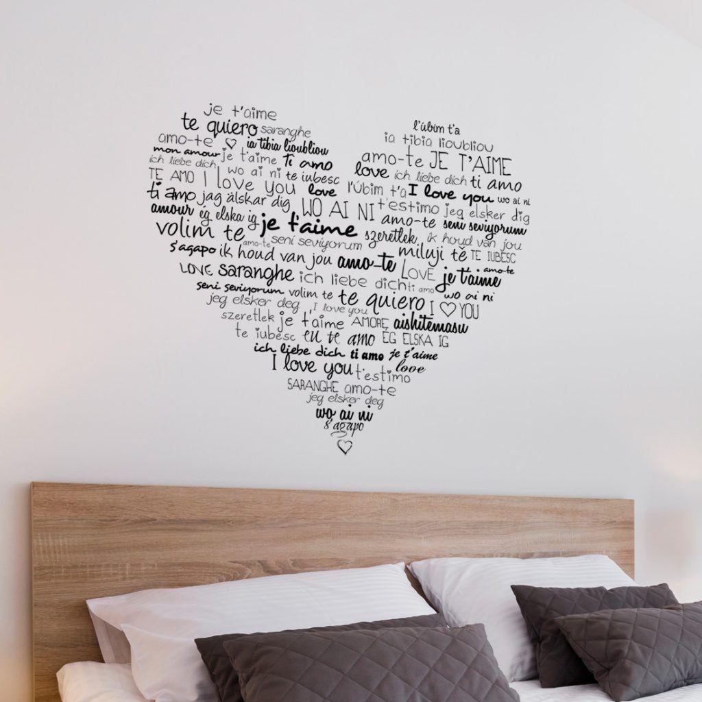 muursticker hart in het zwart voor de slaapkamer muur decoratie leuke ideeen inspiratie voor