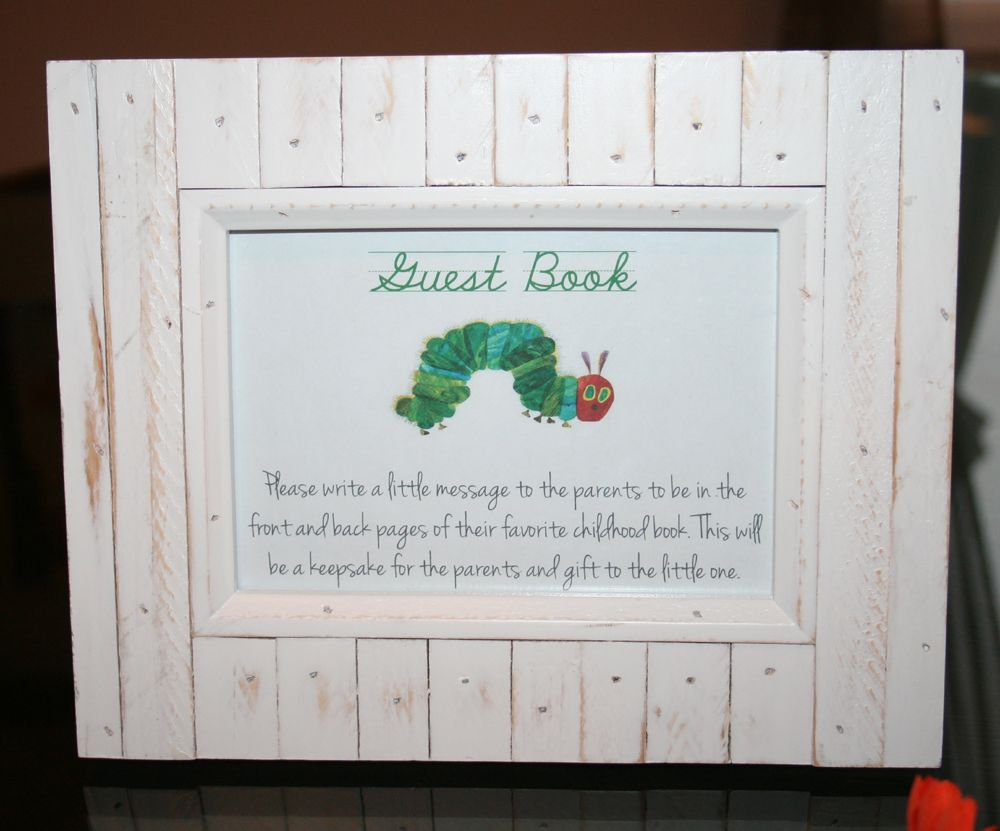 sign the guest book instuctions for hungry catapillar themed