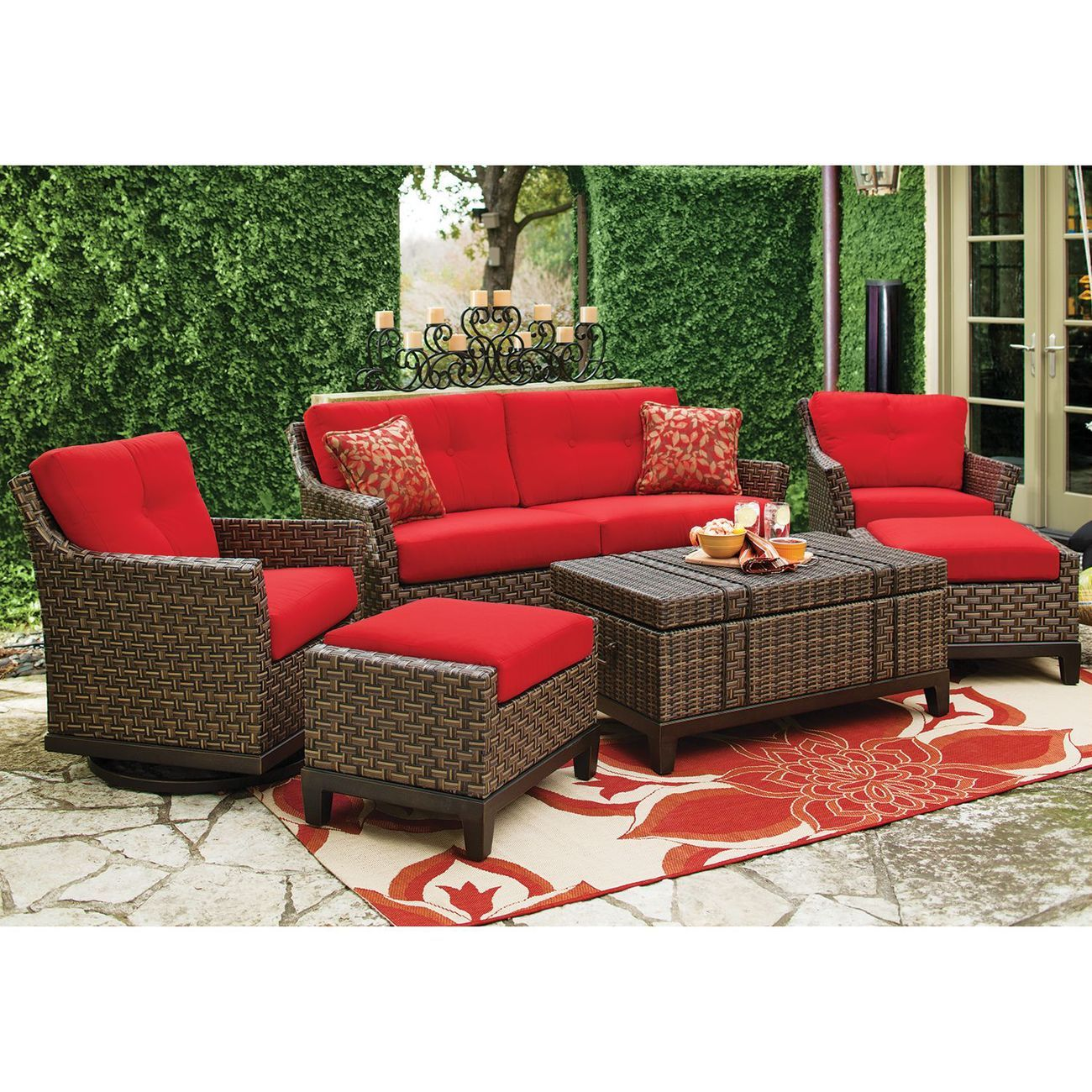 Loveseat Two 360 Swivel Glider Chairs W Ottomans 4 Decorative