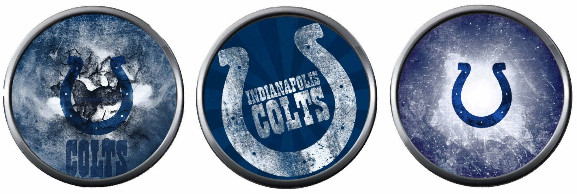 NFL Set of 3 Indianapolis Colts Horseshoe Logo 18MM - 20MM Snap Jewelry Charms New Item