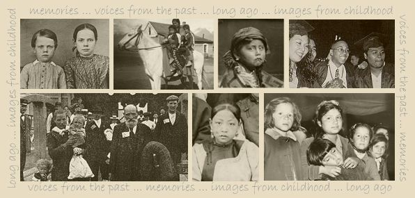 Collage of old photographs depicting the Voices theme