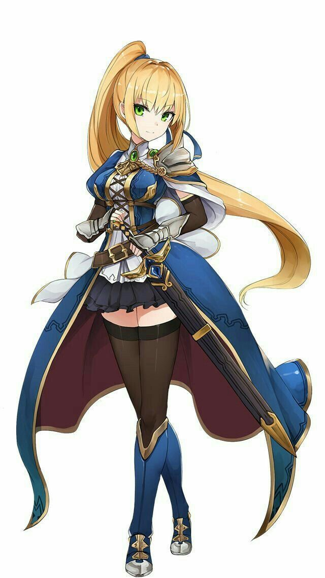 Blonde Character Inspiration: Anime Girl With Blonde Hair With Sword Cased With A Black