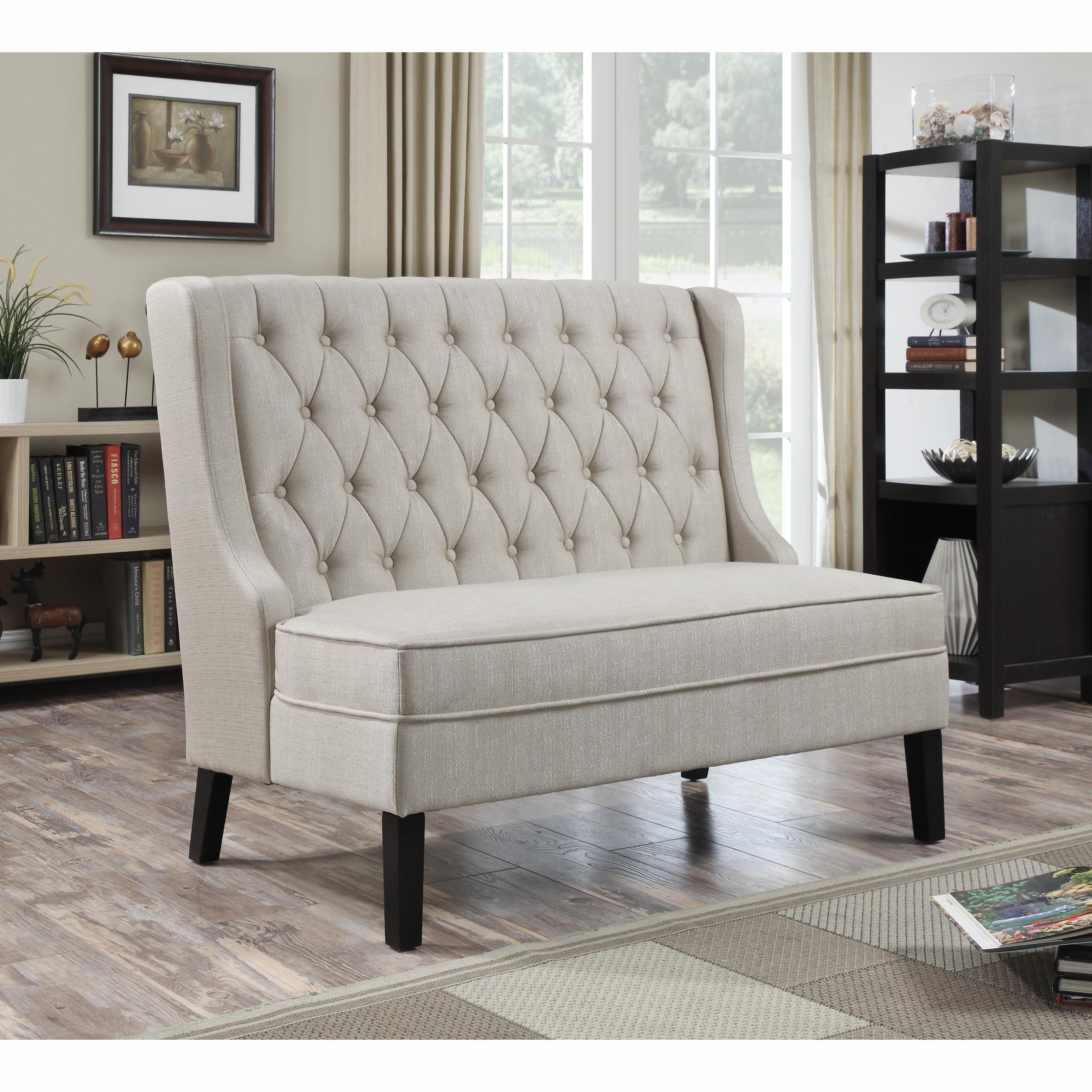 Linen button tufted upholstered banquette bench is for Banquette bench