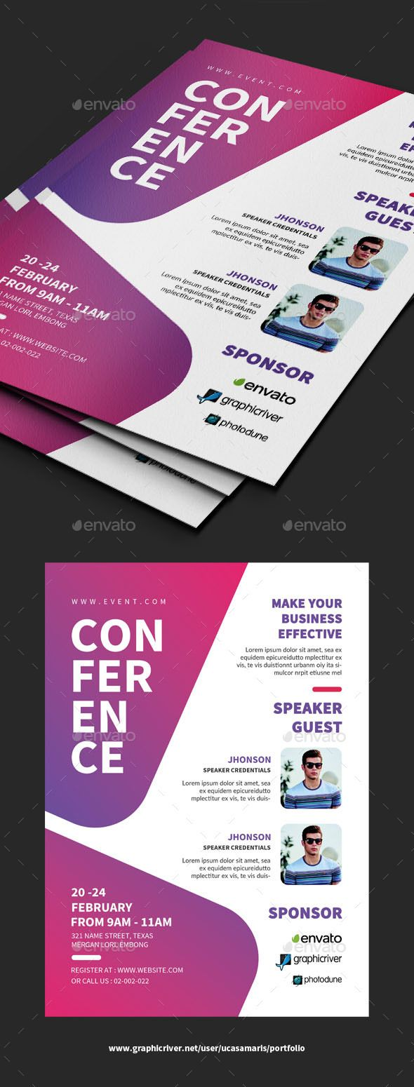 conference flyer template psd creative layout idea pinterest