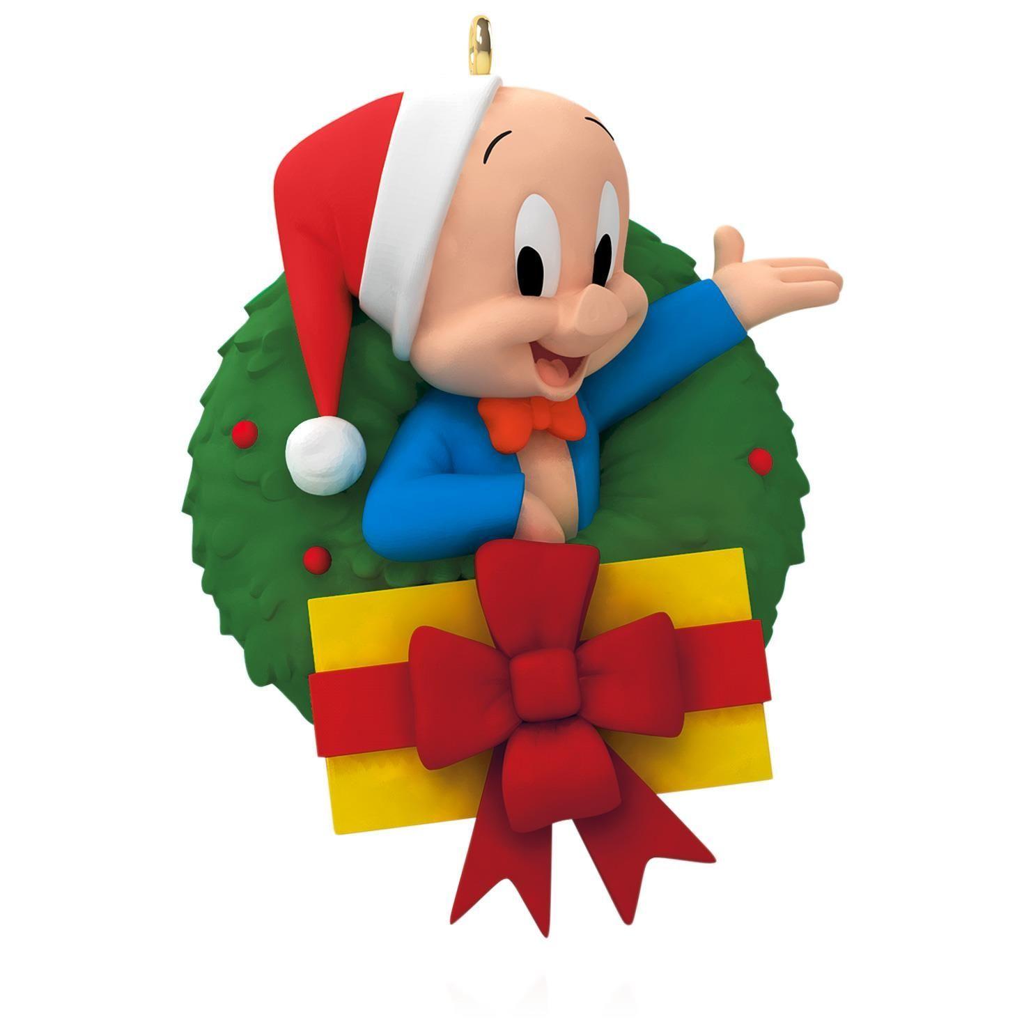 LOONEY TUNES Merry Christmas, Folks! Porky Pig Wreath Ornament ...