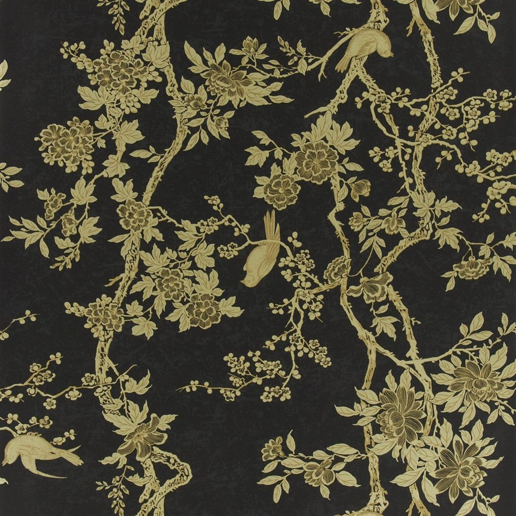 Marlowe Floral Gilded Lacquer Wallpaper Ralph Lauren