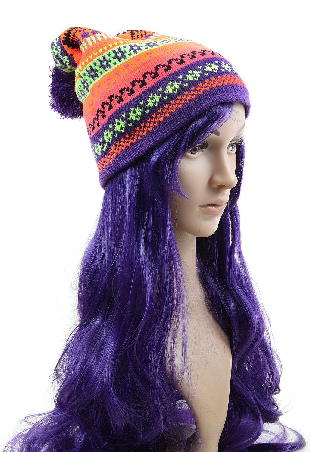 Bright Striped Pom Winter Cold Weather Fashion Knit Slouchy Beanie