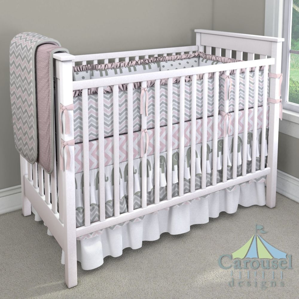 Crib bedding in Pink Dimpled Minky, Pink and Gray Chevron, Silver Gray Silk, Pink Zig Zag, White and Gray Elephants, White and Gray Polka Dot, Solid Pink. Created using the Nursery Designer® by Carousel Designs where you mix and match from hundreds of fabrics to create your own unique baby bedding. #carouseldesigns