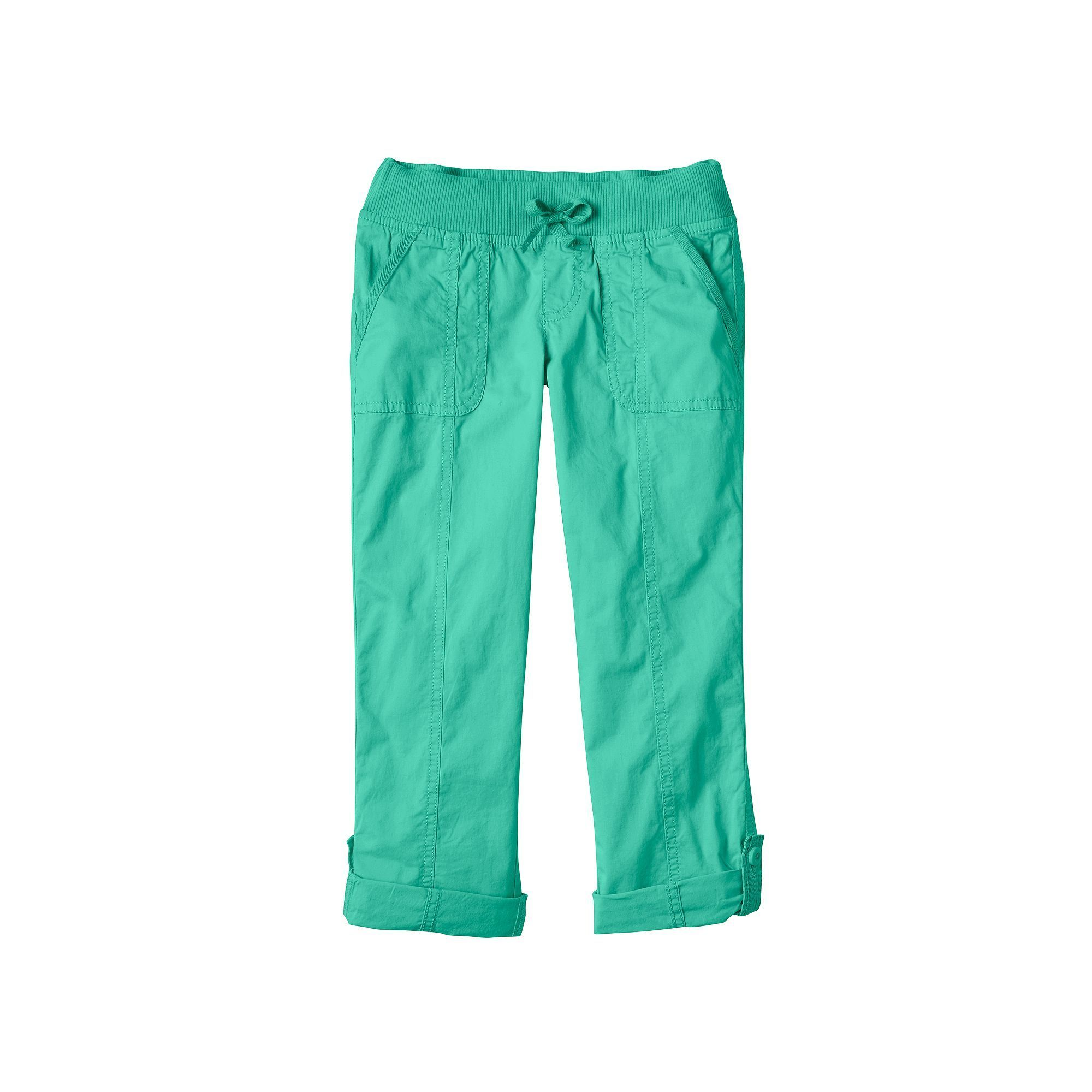 Girls 7-16 & Plus Size SO® Ribbed Waist Utility Pant Roll-Tab Capris, Girl's, Size: 20 1/2, Turquoise/Blue (Turq/Aqua)
