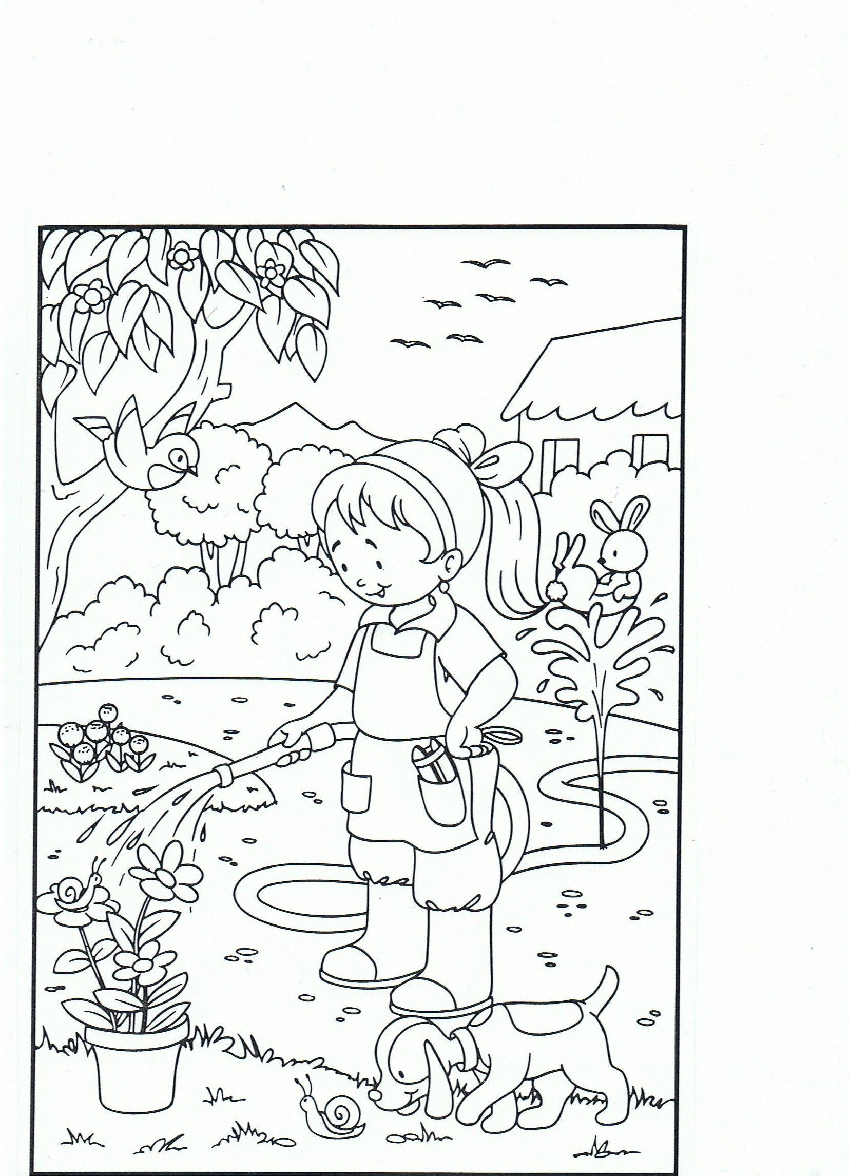planten water geven kleurplaten bloem tuinieren en