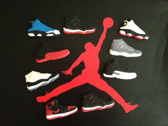 12 Michael Jordan Edible Cupcake Toppers Fondant Gumpaste sneaker ...