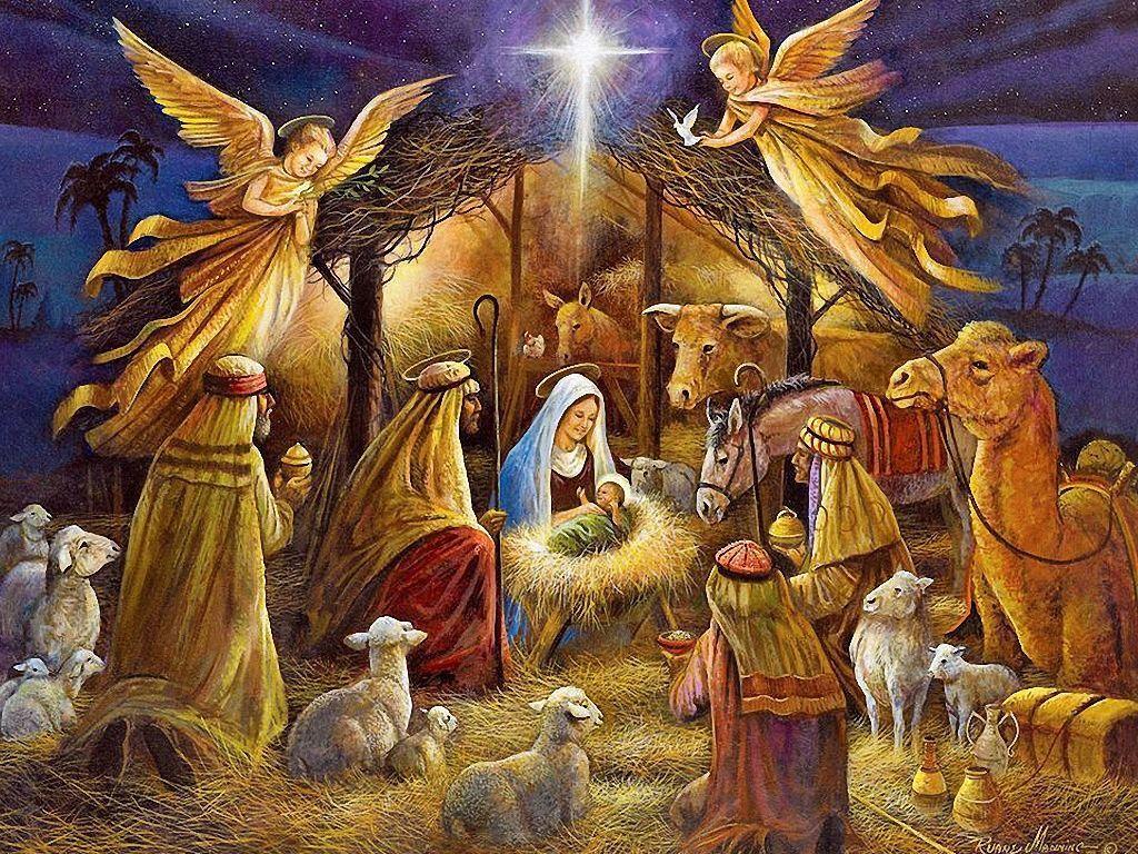 Christmas Nativity Scene Jesus Birthday Edible Cake Topper 1/4 ...
